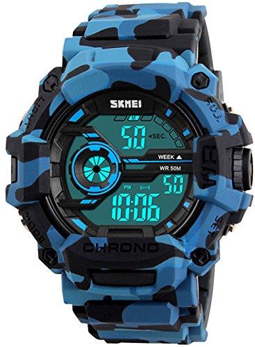 Luxury Brand Waterproof Digital Watch Men Military Sports Watches Fashion Casual Men's Student Swim Dress LED Wristwatches (Blue (Blue Camo Fashion Watch)