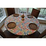 Elastic Edged Flannel Backed Vinyl Fitted Table Cover BOTANICAL PATTERN - Small Round - Fits tables 40