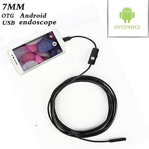 USB Endoscope Borescope Inspection Snake Camera for Windows Laptops and USB OTG Compatible Android Phone with 6 Adjustable LED Lights [7mm, 1.3MP,3.5M Waterproof]