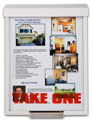 White Snap Shut Brochure Box Brochure Holder Flyer Box Outdoor Realtor Style Info Box Realtor Supplies Real Estate Marketing (Estate Business)