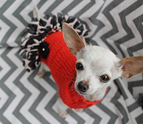 Soft Merino Wool Teacup Dog/Puppy Sweater Dress XXS/XS 2 to 4 Lbs Orange w/Animal Print Giraffe Chiffon Ruffle for Chihuahua Yorkie - Animal Ruffle
