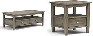 Simpli Home Warm Shaker Coffee Table, Distressed Grey + Simpli Home Warm Shaker End Side Table, Distressed Grey :Bundle