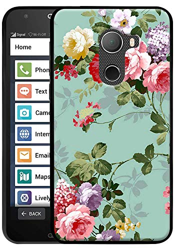 Jitterbug Smart 2 Case, Linkertech Slim Air Armor Thin Fit Silicone Gel Soft TPU Bumper Durable Flex and Easy Grip Case for Jitterbug Smart2 (Peony)