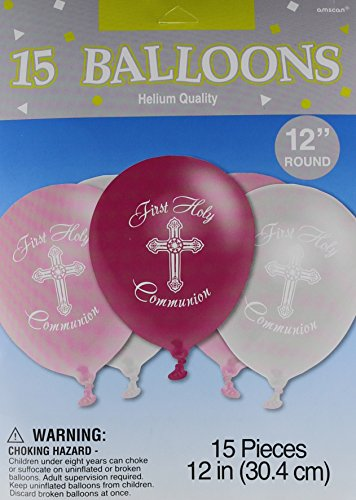 Girl's - Pink and Silver First Holy Communion Latex Balloons - 15ct (Girl Communion First)