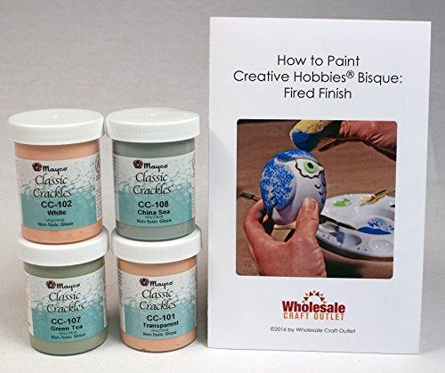 Mayco CCKIT-1 Classic Crackles Glaze Kit for Ceramics - Set of 4 Best Selling Colors in 4 Ounce Jars with Free How to Paint Ceramics (How To Crackle Paint)