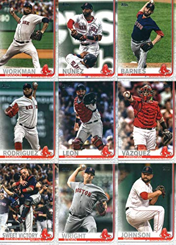 (2019 Topps Series 2 Baseball Boston Red Sox Team Set of 16 Cards: Christian Vazquez(#373), Brandon Workman(#378), Eduardo Nunez(#407), Sandy Leon(#419), Matt Barnes(#422), Dustin Pedroia(#440), Eduardo Rodriguez(#461), Steven Wright(#518), Brian Johnson(#522), Brock Holt(#546), World Series(#549), Bobby Poyner(#571), Andrew Benintendi(#579), Chris Sale(#643), Ryan Brasier(#693), Steve Pearce(#694))