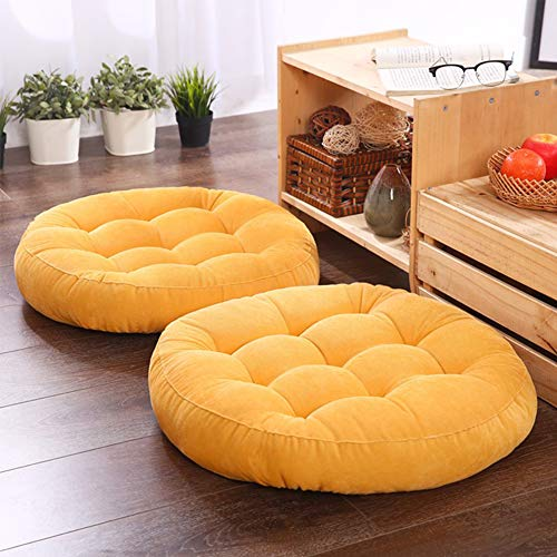 Solid Papasan Patio Seat Cushion Outdoor Chair Pad Home Tatami Floor Cushion Indoor Window Pad 22 Inch Set of 2 Throw Pillows Round Yellow