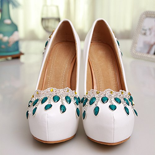 Party Pumps White Handmade MZLL028 Evening Satin Shoes Wedding Minitoo Toe Sexy Women's Round Prom Oda8qP