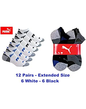 Men's Low Cut All Sport No show Socks- Extended Size-12 Pair- Free Priority