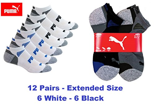 Puma Men's All Sport No show Socks- Extended Size-12 Pair- Free Priority ()