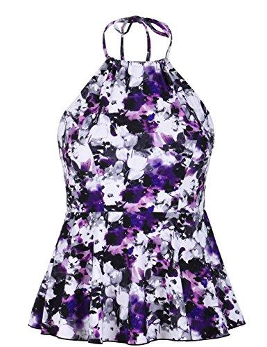 (Mycoco Women's High Neck Halter Swimsuit Tankini Flyaway Swim Skirted Bikini Top Purple Flowers 6)