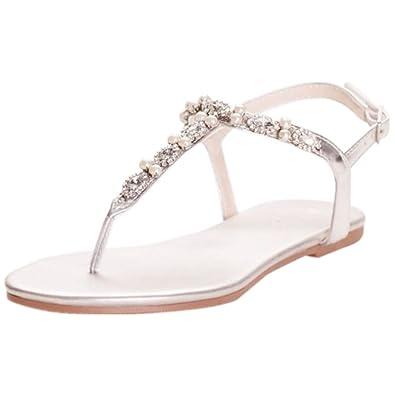 029b8c194 David s Bridal Pearl and Crystal T-Strap Sandals Style Sarina