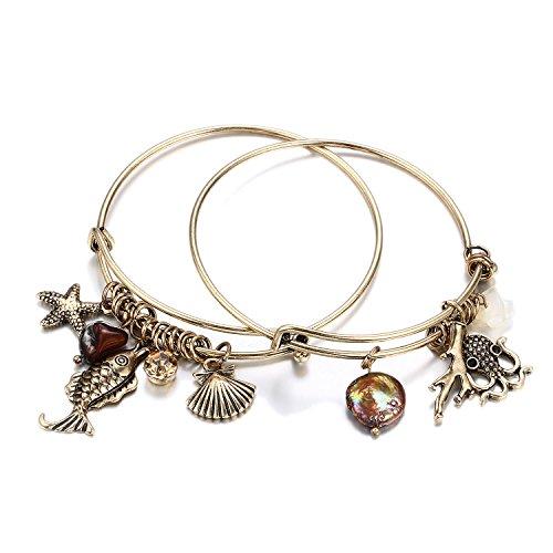 HONGYE 1 Set 2 Pcs Ocean Shell Starfish Octopus Rhinestone Pendant Adjustable Bangle Bracelet