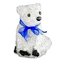 XEPA EHX-AB001 LED Illuminated Acrylic Sitting Baby Polar Bear Figurine Figurine Night Light, White