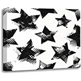 Emvency Painting Canvas Print Wooden Frame Artwork Abstract Stars Pattern Urban in Blac and White Colors for Girls Boys Childish Decorative 16x20 Inches Wall Art for Home Decor
