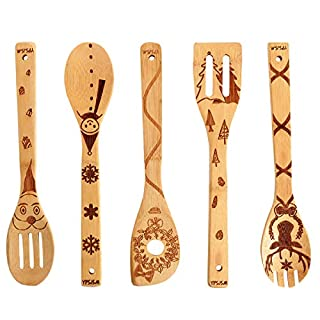 YPSJSM Bamboo Wooden Spoons for Cooking & Serving Burned Wooden Kitchen Utensils Set Non-stick Wood Spoon Spatulas,Great Gift For Chefs Foodies & Kitchen Lovers(Christmas Set of 5)