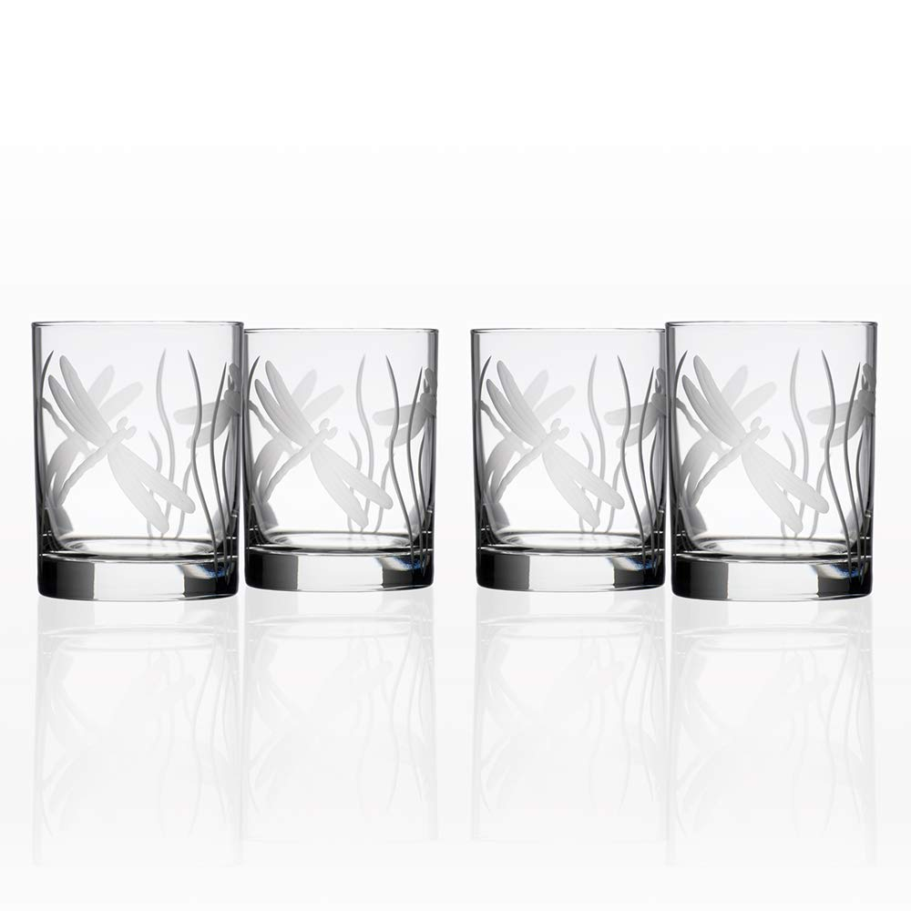 Rolf Glass Dragonfly Double Old Fashioned Glass, 14 Ounce, Set of 4