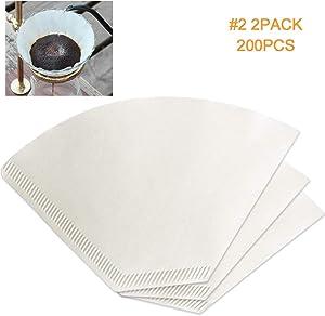 200 Count Super Premium White #2 Cone Coffee Paper V60 Filters Compatible with No.2 Cone Coffee Dripper(#2 White Coffee Filters 200pcs)