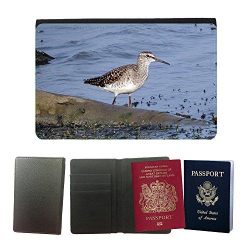 Just Phone Cases Flip PU Leather Travel Passport Wallet Case with Flight Ticket Slots // M00128734 Wood Sandpiper Sandpiper Bird Wader // Universal Passport Leather Cover