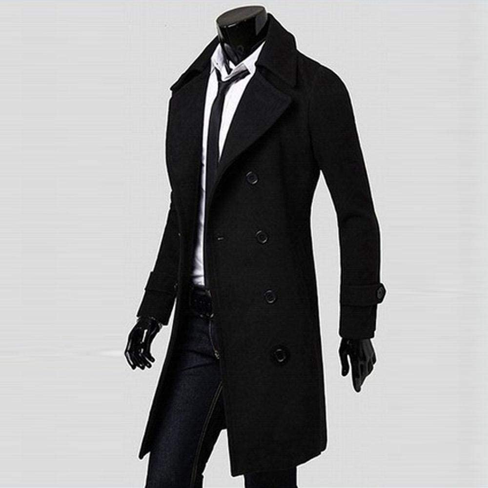 HGWXX7 Mens Fashion Solid Cotton Slim Trench Coat Long Jacket Parka Double Breasted Overcoat