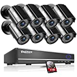 TMEZON 16CH Channel Video DVR CCTV Security Cameras System 8 x 800tvl IR Cut Outdoor Bullet Hi-Resolution Surveillance Cameras Black Smart Phone View with 1TB HDD