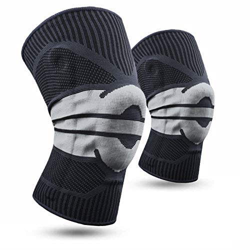EHO 2 Pack (1 Pair) Knee Compression Sleeve Knee Brace for Men & Women Knee Support for Running Football Gym Workout