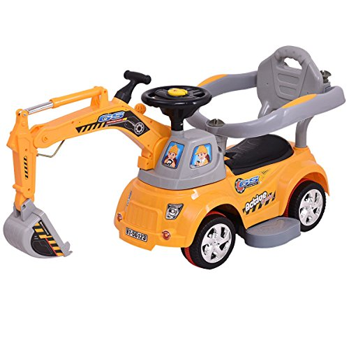 Costzon Ride On Excavator  Electric Digger Scooter  Pulling Cart For Kids W  Remote Control  Yellow