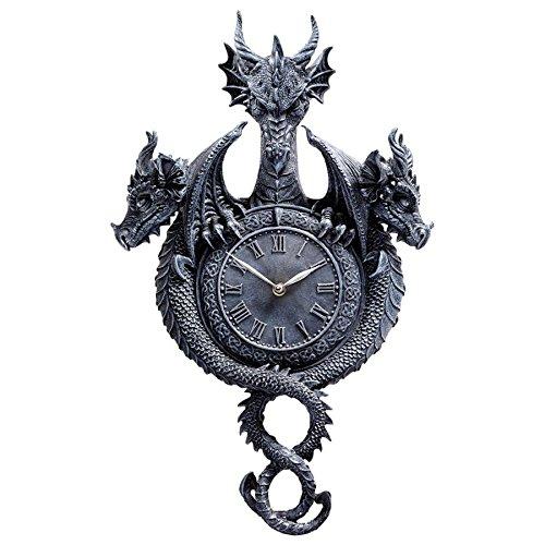 Past, Present, Future Sculptural Dragon Wall Clock