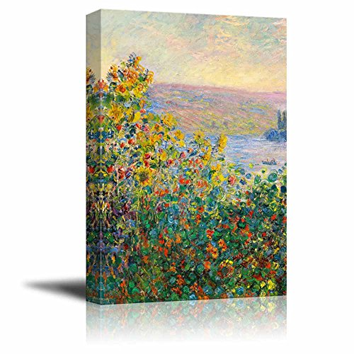 Flower Beds at V¨¦theuil by Claude Monet Print Famous Painting Reproduction