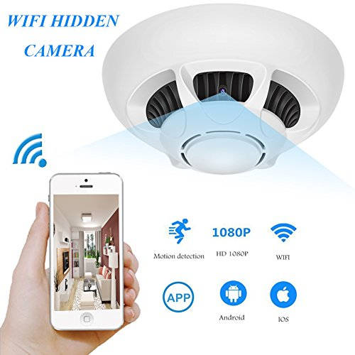 YCTONG WiFi Hidden Camera Smoke Detector Spy Camera HD 1080P Security Camera with Remote Control Motion Activated Alarm Wireless Surveillance Camcorder for Home Office