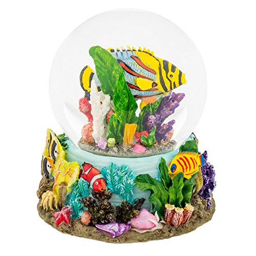 Sandbar Tropical Fish 100MM Water Globe Plays Tune By the Beautiful Sea