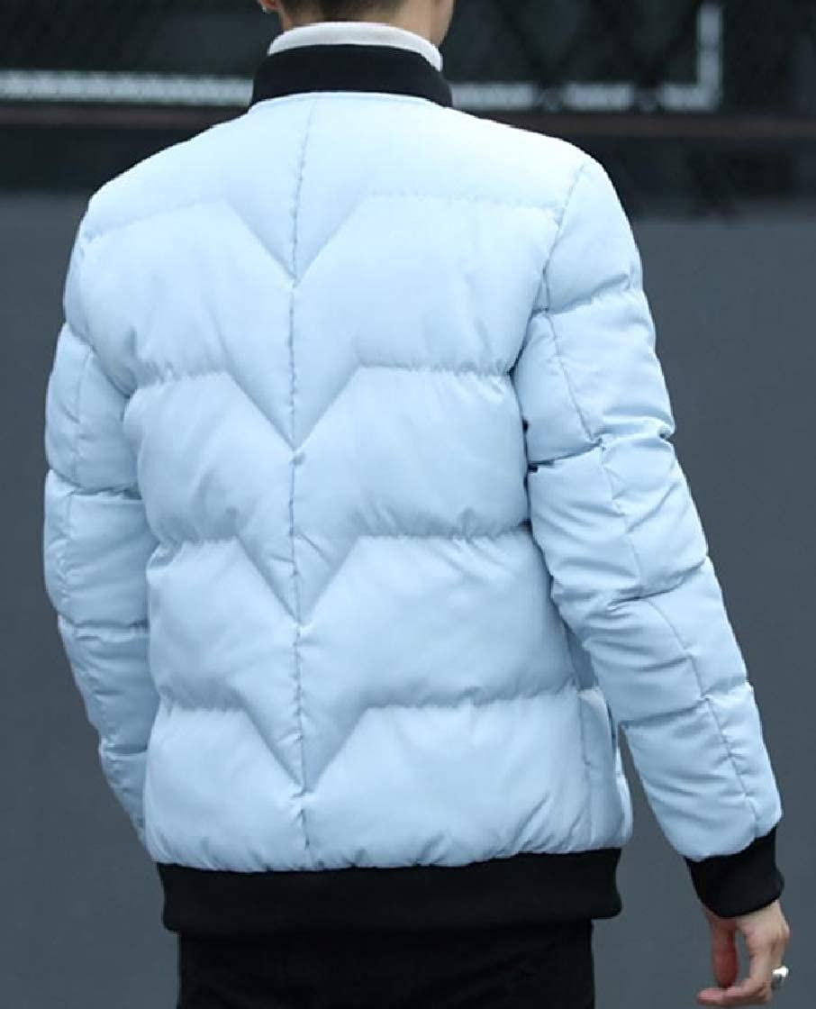 YUNY Mens Stand Collar Lounge Stitch Zip Up Pocket Warm Down Outwear Grey 2XL