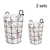 TSAR003 European Simple Iron Frame Waterproof Canvas Laundry Hamper Or Basket Dirty Clothes Storage Clothing Storage Barrels Dirty Clothes Barrel Basket Basket , C
