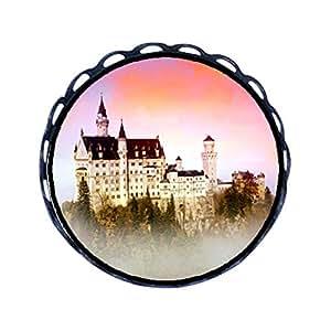 Chicforest Ancient Style Neuschwanstein Castle mist dawn Round Pin Brooch