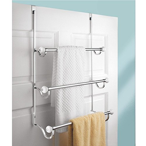 InterDesign York - Over-the-Shower-Door 3-Bar Towel Rack - White/Chrome - 4.75 x 17.75 x 22.5 inches
