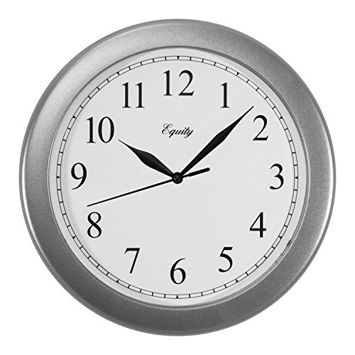 Equity by La Crosse 25206 10 Inch Silver Analog Quartz Wall Clock,