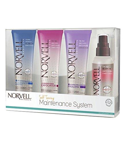Norvell Self-Tanning Maintenance System - Renewing Exfoliator (2.5 oz), Body Buff eXmitt (Single), Bronzing 4-Face (2 oz), pH Balancing Cleanser (2.5 oz)