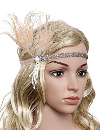 (BABEYOND Vintage 1920s Flapper Headband Roaring 20s Great Gatsby Headpiece with Feather 1920s Flapper Gatsby Hair Accessories (Apricot)
