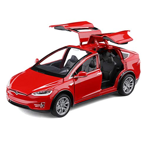 Diecast Toy Car Model X,Zinc Alloy Casting Pull Back Vehicles,1:32 Scale for 3 to 12 Years Old Toddlers Kids Toy Gift - with Lights and Music (red)