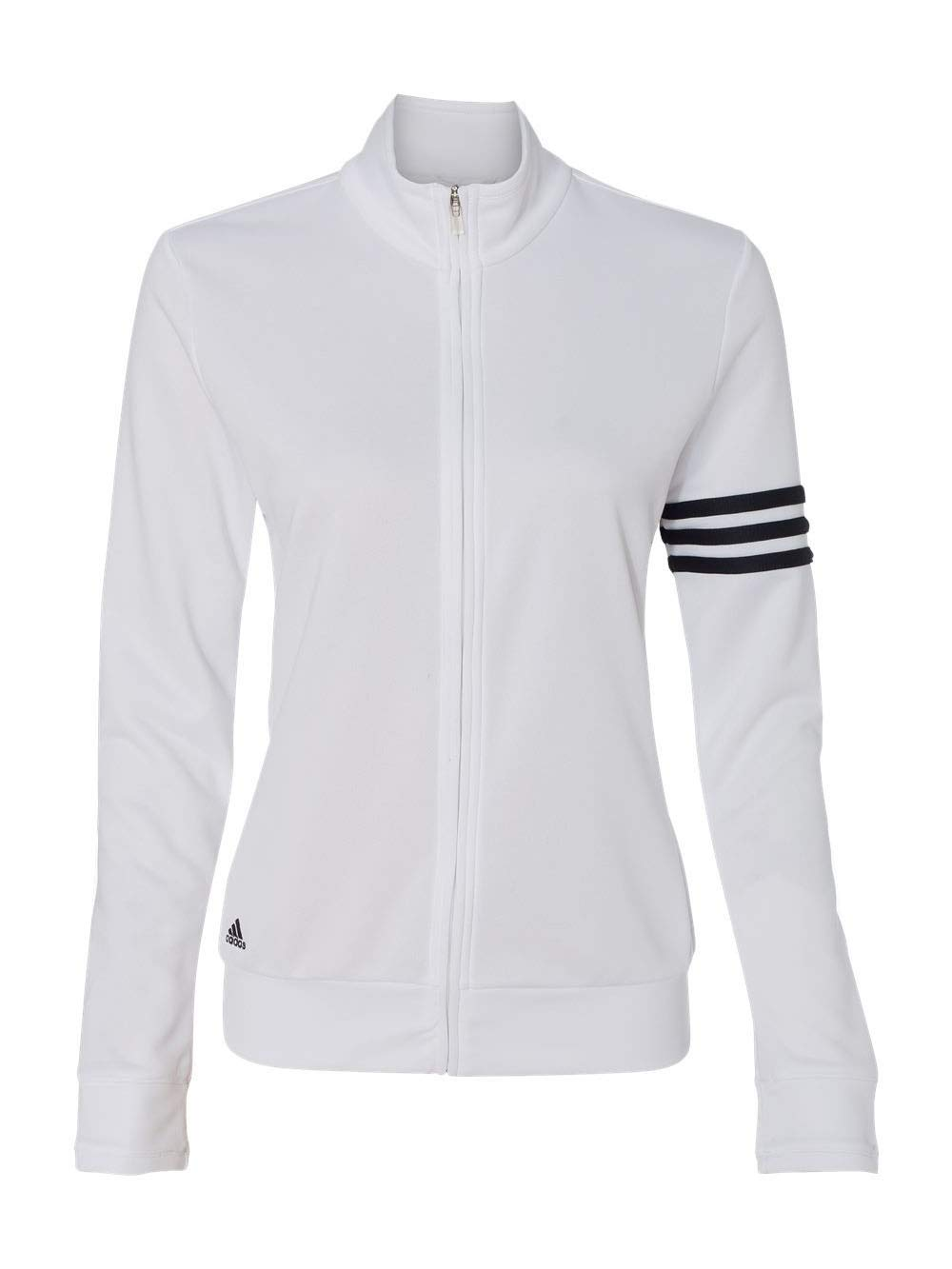 adidas A191 Ladies ClimaLite 3-Stripes Full Zip Pullover Jacket - White & Black, Large