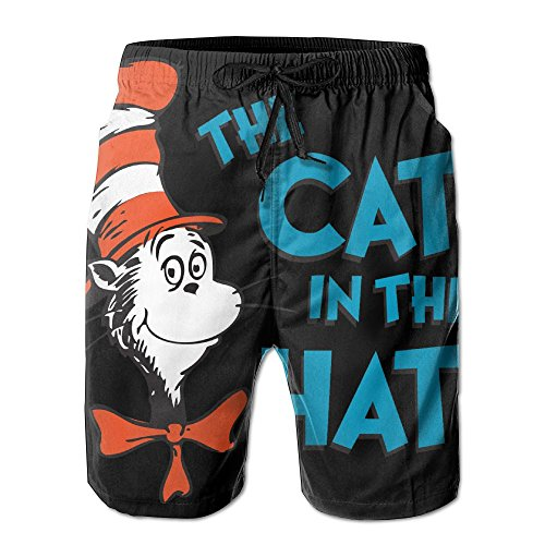 Men's Dr_Seuss_The_Ca_in_The_Hat Beach Board Shorts Quick Dr Swim Trunks