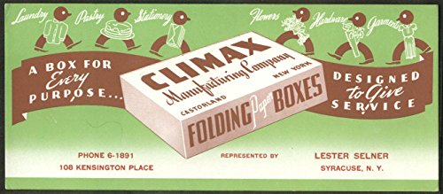 Climax Folding Paper Boxes Castorland Syracuse NY advertising blotter 1930s from The Jumping Frog