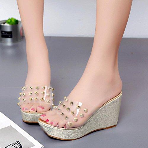 Damen Sandalen, SHOBDW Damen Hausschuhe Open Toe Schuhe Wedge Slip High Heel Hausschuhe Flip Flop Gold-1