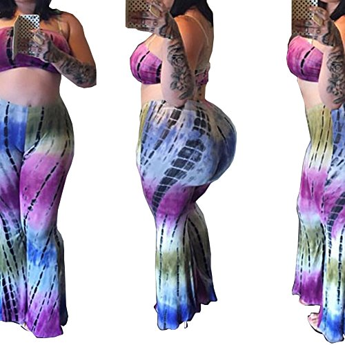Bodycon4U Women's Tie Dye Print Bandeau Top Flared Bell Bottom Pants 2 Piece Outfits