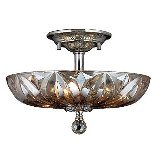 Worldwide Lighting W33142C16-GT Mansfield 4 Light Anden Teak Crystal Semi Flush Mount Ceiling Light, Polished Chrome by Worldwide Lighting