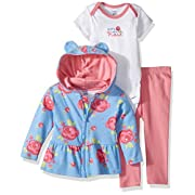 Gerber Baby 3 Piece Hooded Jacket, Bodysuit and Pant Set, Rose, 0-3 Months