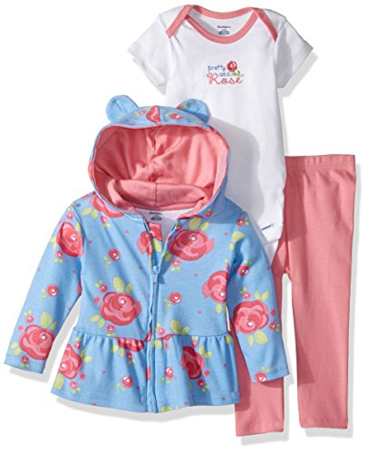 - Gerber Baby 3 Piece Hooded Jacket, Bodysuit and Pant Set, rose, Newborn