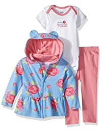 Gerber Baby-Girls Baby 3 Piece Hooded Jacket, Bodysuit and Pant Set