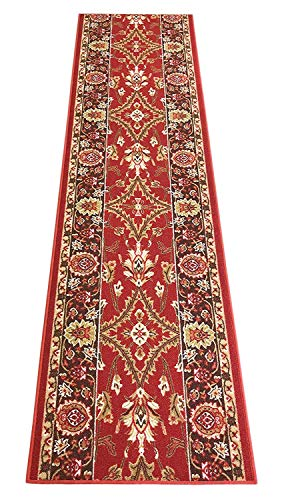 Mahal Persian Rug - RugStylesOnline Custom Size Runner Persian Mahal Roll Runner Red 26 Inch Wide x Your Length Size Choice Slip Skid Resistant Rubber Back (Red, 35 ft x 26 in)