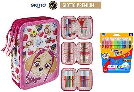 Plumier estuche cremallera triple 3 pisos Patrulla Canina SKYE 43 piezas contenido Giotto + REGALO 12 Ceras Plasticas: Amazon.es: Juguetes y juegos